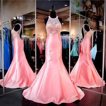 Coral Pink Mermaid Prom Pageant Dress Halter Beaded Neckline Keyhole Back Evening Dress Hand Crystals Evening Dress