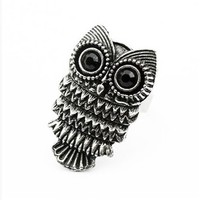 MBOX Adjustable Vintage Retro Nickel Silver Pewter Owl Ring
