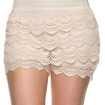 Sexy Beige Lace Shorts