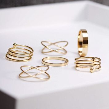 BeautyWay Multi Gold Round Rings Set Midi Finger Ring Set for Women Girl Simple Band Rings Accessories Jewelry jz351