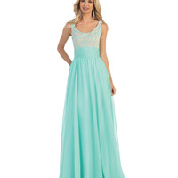 Mint Lace Applique Chiffon Gown 2015 Homecoming Dresses