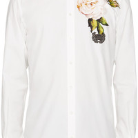 White Embellished Flower Shirt