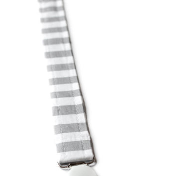 Pacifier Clip Gray Stripes
