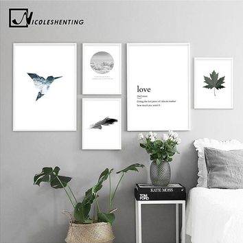 NICOLESHENTING Sea Bird Feather Leaf Canvas Poster Print Nordic Style Wall Art Landscape Painting Decorative Picture Home Decor
