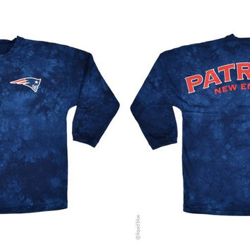 New England Patriots Logo Tie Dye Sweeper Long Sleeve Oversized Top Shirt  Jersey 138446976