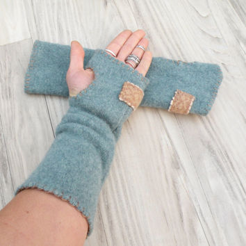 Fingerless Felted Wool Gloves  - Handmade, Eco Friendly, Slate Blue and Tan Arm Warmers