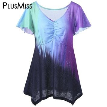 Plus Size 5XL Ombre Tie Dye Tops Women Summer 2017 Big Size Flare Sleeve T-shirts V Neck Color Block Print Tee Shirt Ladies