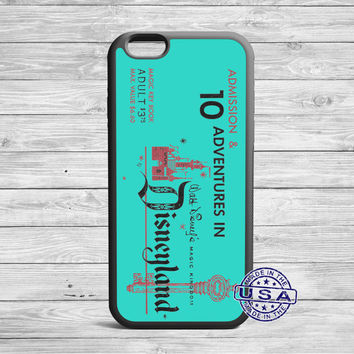 Turquoise Disney Land Vintage Ticket iPhone 6 case, iPhone 5 case, iPhone 5s case, iPhone 5c case and Galaxy S6, S3, s4, s5, Note 3, 4