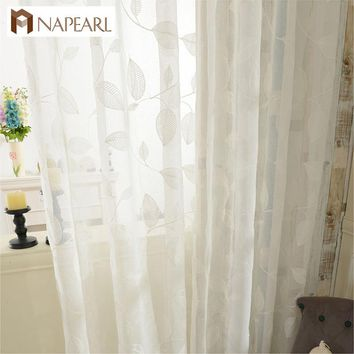 Embroidered tulle curtains white linen modern sheer living room window treatments kitchen door floral design short curtain panel