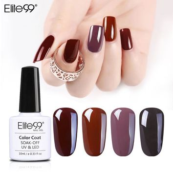 Elite99 Coffee Brown Colors Series Nail Gel Polish 10ml Gorgeous Brown Color Shiny Surface UV LED Gel Polish Lacquer Soak Off