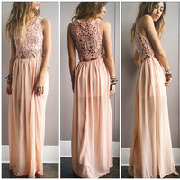 A Crochet Goddess Maxi- Blush