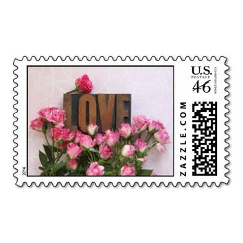 miniature roses with love word stamp