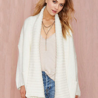 White Lapel Long Sleeve Cardigan