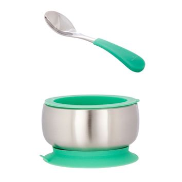 Avanchy Stainless Steel Baby Bowl with Spoon Combo + Air Tight Lid