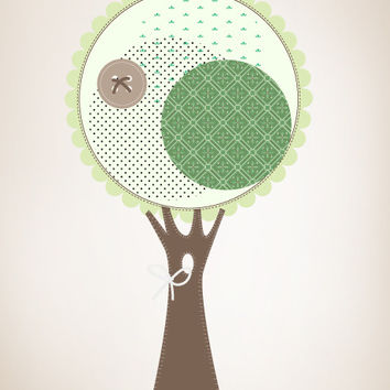 Graphic Wall Vinyl Decal Sticker Stitched Tree #MM115