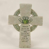 "Irish Blessing Faithstone Wall Cross -  "" Dance As If No One Were Watching, Sing As If No One Were Listening, Live Ever Day As If Were Your Last """