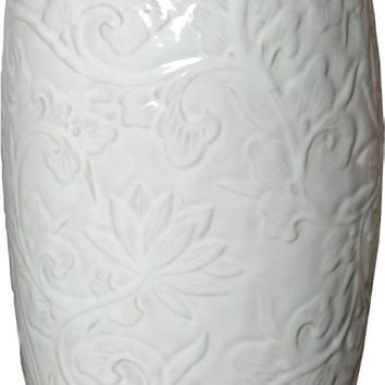 White Vase With Botanical Relief (tall)
