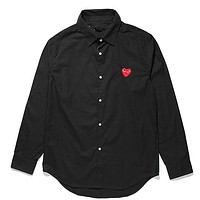 PLAY Tide brand embroidery heart men and women cotton long-sleeved shirt Black