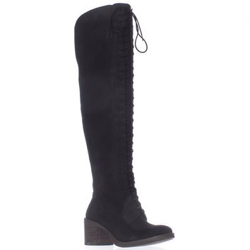 Lucky Brand Riddick Lace Up Over The Knee Boots, Black, 6.5 US / 36.5 EU