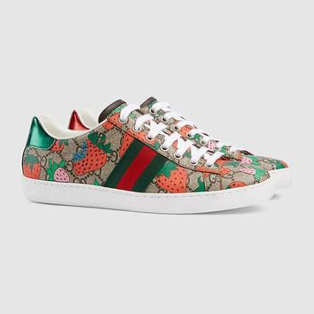 Gucci Strawberry Ace donna GG Sneaker Shoes