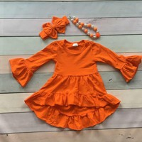Girls Orange Asymmetrical Dress with Matching Accessories