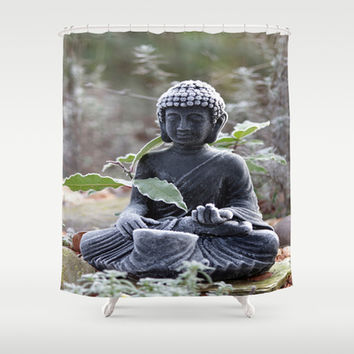 Buddha with ice crystals Shower Curtain by Tanja Riedel