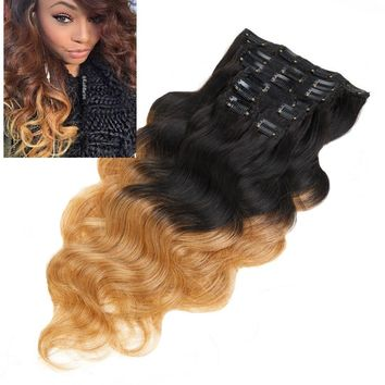 Full Head Ombre Body Wave Brazilian Clip in Human Hair Extensions