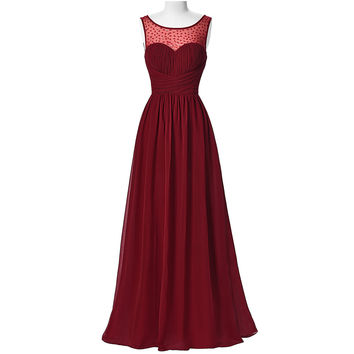Kate Kasin Women Dresses Long Burgundy 2017 Sleeveless Dress V-Back Chiffon Dresses Ruched Wedding Dinner Dress Prom Formal Gown