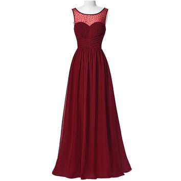 Hot Sell Long Burgundy Prom Dresses 2017 Sleeveless V-Back Chiffon Ombre Dress Strazz Ruched Wedding Dinner Dress Prom Gowns