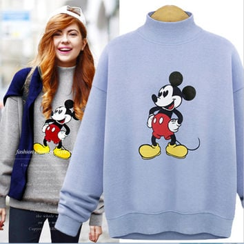 Mickey Sets high collar fleece sweater Light blue