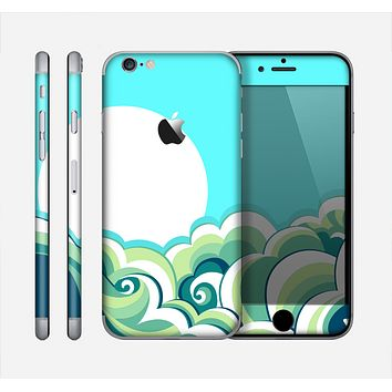 The Retro Blue Vintage Vector Wave Skin for the Apple iPhone 6