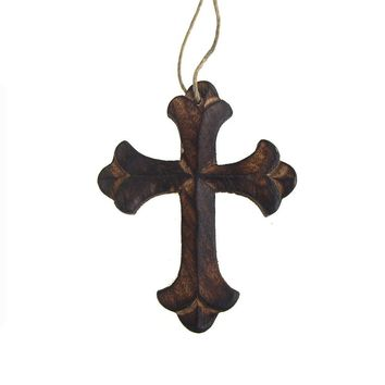 Hanging Beveled Nasrani Cross Christmas Tree Ornament, Brown, 4-Inch