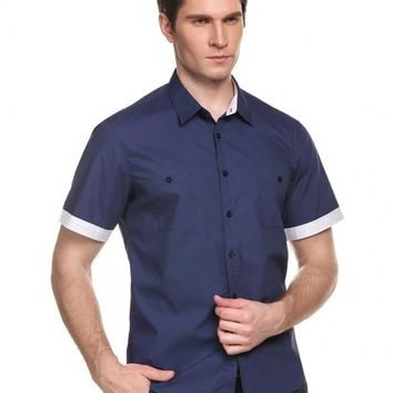 Navy Blue Men's Short Sleeve Turn-down Collar Contrast Color Button-Down Shirts