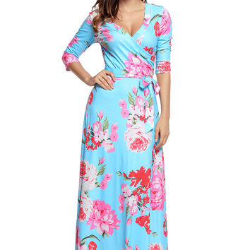 Cyan Floral Print Wrapped Long Boho Dress LAVELIQ