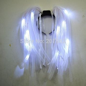 Free shipping white LED Light Up Flashing Party Rave Noodle Bridal Headband Rave Costume Dress Up for bachelorette party