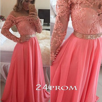 A-line Round Neck Lace Long sleeve Chiffon Pink Prom Dresses, Evening Dresses