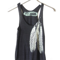 Black and Creme Feathers Tri-Blend Racerback Tank Top hand printed by Blonde Peacock