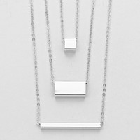 Triple Bar Necklace Silver