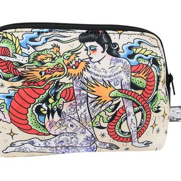 Liquorbrand Japonski Traditional Japanese Dragon and Tattooed lady Tattoo Art Cosmetic Bag Pouch