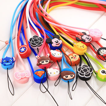 1pc Cute Cartoon Cell Phone Straps Rope for Smart phone Lanyard Neck Strap Phone Decoration Lanyard Passcard holderKeys hanging