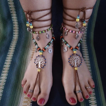 Barefoot sandals, boho, hippie, tibetan silver, jewelry barefoot, jewelry belly dancing, tribal, lifre tree