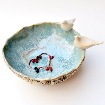 Ceramic love bird bowl doves serving bowl handmade pottery Peace Conference wedding decor