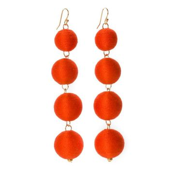 Pom Bon Earrings in Cajun Red
