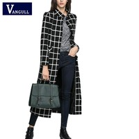 2016 women jacket New Black Plaid cashmere Wool Coat  X-long section overcoat loose type thick warm parkas Brand Overcoat