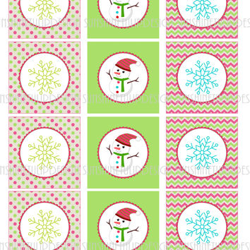 Snowman Cupcake Toppers, Sticker Labels & Party Favor Gift Tags
