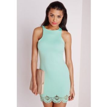 Laser Cut Scalloped Bodycon Mini Dress Mint - Bodycon Dresses - Missguided