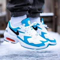 NIKE AIR MAX2 LIGHT Trending Men Casual Air Cushion Sport Running Shoes Sneakers White&Blue