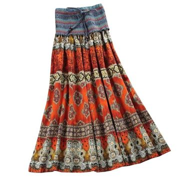 Summer New Arrival Fashion Elastic Waist Bohemian Style Flower Printed Women Long Skirts Saia Longa Skirts Wnmens Clothes
