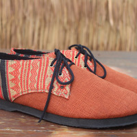 Vegan Men's Shoes Oxfords In Natural Hemp & Naga Tribal Embroidery