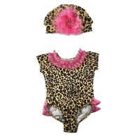Baby Girls Cute Tan Pink Leopard Ruffle 2pc Bodysuit Hat Outfit 3M-18M